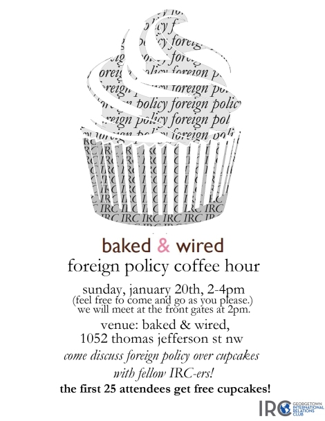 Baked & Wired Foreign Policy Coffee Hour Poster